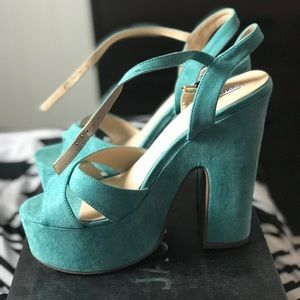 Turquoise Suede Platform high heels